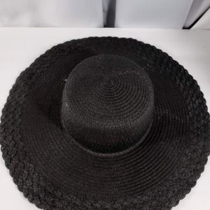 Big Black Sun Hat, Woven, Paper